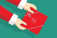 Santa Claus Giving Christmas Gift - Christmas presents - holiday spirit. Business presents for Christmas - holiday give away stock illustration