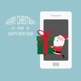 Santa Claus giving gift on phone. Cartoon Vector Illustration Stock Image