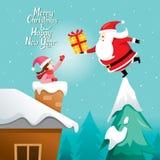 Santa Claus Giving Gift To Girl royalty-vrije illustratie