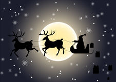 Santa Claus giving gifts. Santa Claus riding on reindeer sledge, giving gifts, vector particles illustrations Royalty Free Stock Image