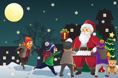 Santa Claus giving out Christmas presents to kids. A vector illustration of Santa Claus giving out Christmas presents to kids stock illustration