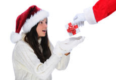Santa Claus Giving Present to Young Woman Royalty Free Stock Photo