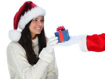 Santa Claus Giving Present to Young Woman Stock Photography