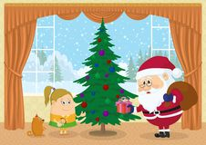 Santa Claus giving presents Stock Images