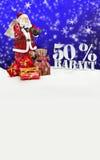 Santa Claus - glad jul 50 procent rabatt Arkivfoto