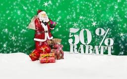 Santa Claus - glad jul 50 procent rabatt Royaltyfri Bild