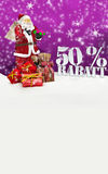 Santa Claus - glad jul 50 procent rabatt Royaltyfri Bild