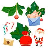 Santa Claus and glass ball, pig, develop, bag, fir branches, Christmas tree, Christmas ball, snowflake and Sweet Candy royalty free illustration