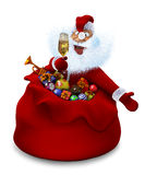Santa Claus with a glass of champagne in a bag Stock Photography