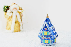 Santa Claus and glass house Royalty Free Stock Photos