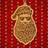 Santa Claus with glasses and big beard with the typography Happy New Year 2018 on red knitted background. Wooden. Christmas decoration. Vector illustration Royalty Free Stock Photos