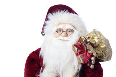 Santa Claus in glasses with gifts closeup portrait Royalty Free Stock Photos