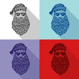 Santa Claus with glasses in hipster style with big beard and an inscription Happy New Year 2018. Vector illustration of. Santa Claus with glasses in hipster Stock Photography