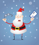 Santa Claus with glasses and letter. Fat cartoon Santa Claus prepares to read the letter to Santa Stock Photo