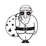 Santa Claus in Glasses Outline Flat Cartoon Stock Photos