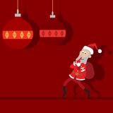 Santa Claus goes with a bag, abstraction Royalty Free Stock Photos