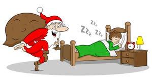Santa claus goes on tiptoe Royalty Free Stock Image