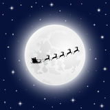 Santa Claus goes to sled reindeer of the moon Stock Images