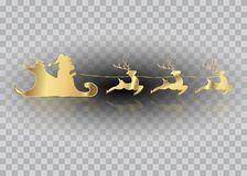 Santa Claus of gold with a reindeer flying, Merry Christmas,.  Royalty Free Stock Images