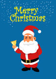 Santa Claus with golden bell. Christmas vector flat illustration Royalty Free Stock Photos