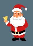 Santa Claus with golden bell. Christmas vector flat illustration Stock Photos