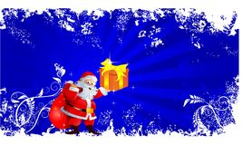 Santa claus with golden gift box. Royalty Free Stock Photography