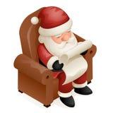 Santa Claus Grandfather Frost New Year-Karikatur-Design Sit Armchair Read Gift Lists nettes isometrisches Weihnachten3d Stockfotos