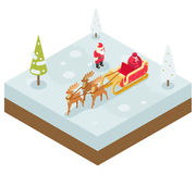 Santa Claus Grandfather Frost  Sleigh Reindeer Royalty Free Stock Image