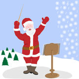 Santa Claus is the greatest musician of nature in winter Royalty Free Stock Photos