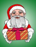 Santa Claus - Green Background. Santa Claus giving a gift box with green background Royalty Free Stock Images