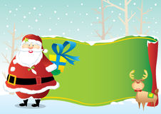 Santa Claus and the green decoration scroll Royalty Free Stock Photography