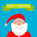 Santa Claus and green ribbon. Merry Christmas card. Stock Image