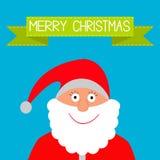 Santa Claus and green ribbon. Merry Christmas card. Vector illustration Stock Image