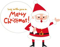 Santa Claus and greeting text.Santa back.Flat design,Vector illustration,Cute Cartoon character stock illustration