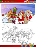 Santa claus group coloring page Royalty Free Stock Image