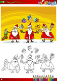 Santa claus group coloring page Royalty Free Stock Images