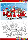 Santa claus group coloring page Stock Images