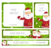 Santa Claus hållbaner med julhälsningar Royaltyfri Foto