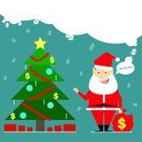 Santa Claus ha portato una borsa di soldi Fumetto del biglietto da visita comico royalty illustrazione gratis