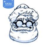 Santa Claus hace frente al ejemplo de la Navidad del personaje de dibujos animados stock de ilustración