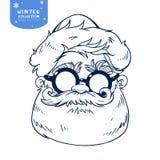 Santa Claus hace frente a la línea ejemplo de la Navidad del personaje de dibujos animados stock de ilustración