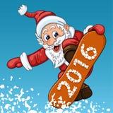 Santa Claus hace salto en la snowboard Imagen de archivo libre de regalías