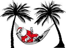 Santa Claus in hammock. Santa-claus travelling Royalty Free Stock Photos