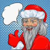 Santa Claus hand drawn illustration,. Pop Art comics style greetings card with blank speech bubble for Christmas Royalty Free Stock Photo