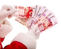 Santa Claus hand with  money Russian rouble. Stock Photography