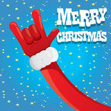 Santa Claus hand rock n roll vector illustration. Stock Images