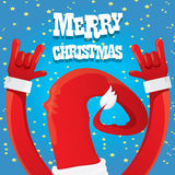Santa Claus hand rock n roll vector illustration. Royalty Free Stock Images