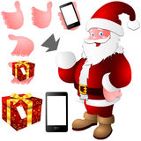 Santa claus hand smartphone gift Stock Photos