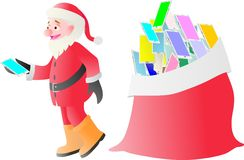 Santa Claus handing android on Christmas Royalty Free Stock Image