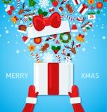 Santa Claus Hands Holding Open Gift ask vektor illustrationer